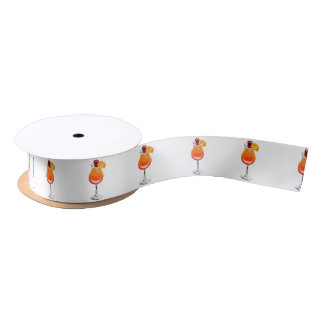 Watercolor Tequila Sunrise Cocktail Satin Ribbon
