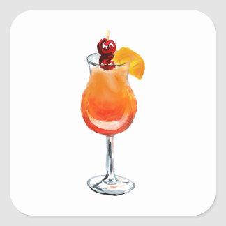 Watercolor Tequila Sunrise Cocktail Square Sticker