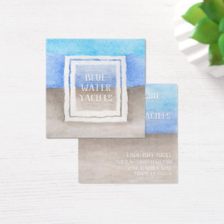 Watercolor Text Over Blue & Tan Sea Beach Theme Square Business Card