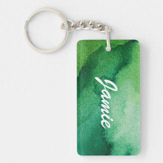 Watercolor texture Double-Sided rectangular acrylic key ring
