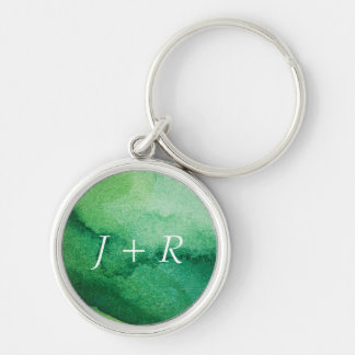 Watercolor texture Silver-Colored round key ring