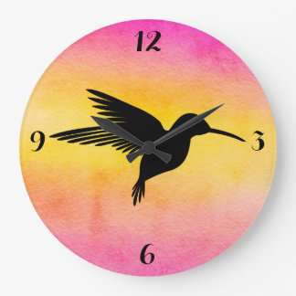 Watercolor Textured Hummingbird Colibri Clock