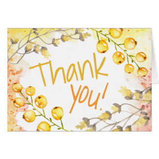 Watercolor Thank You Any Occasion | Yellow Berries Card