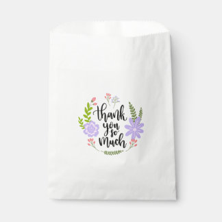 Watercolor Thank You Floral Purple Flowers Leaves Favour Bag