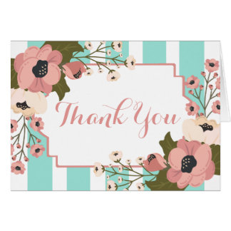 Watercolor Thank You Pink Floral Turquoise Stripes Card