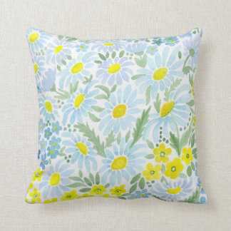 Watercolor . The flowers of the field . Chamomile Cushion