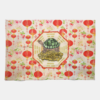 Watercolor Tortoise / Turtle Feng Shui on Bagua Tea Towel