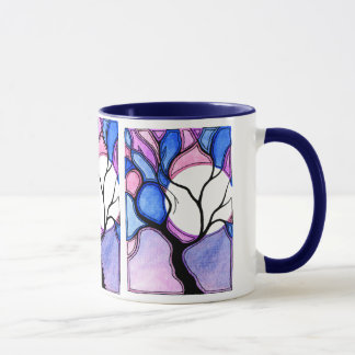 Watercolor Tree and Moon - Blue and Pink Mug