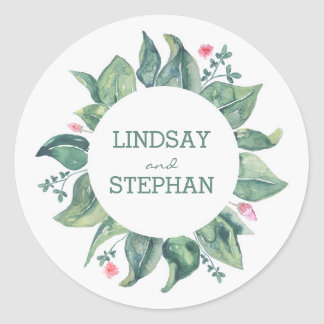 Watercolor Tree Leaves Rustic Garden Wedding Classic Round Sticker