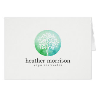 Watercolor Tree Yoga and Wellness Folded Notecard