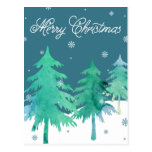 Watercolor Trees Christmas Postcard