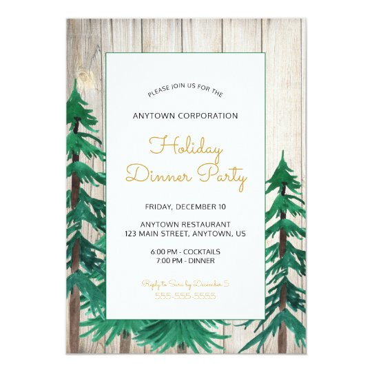 Watercolor Trees Corporate Holiday Party Card