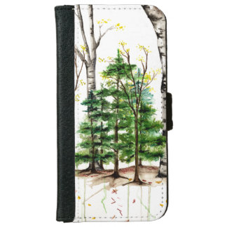 watercolor trees iphone 6 wallet case