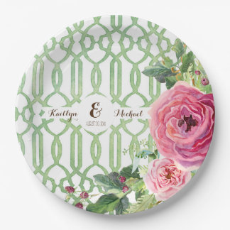 Watercolor Trellis Floral Rose Peony Bridal Shower 9 Inch Paper Plate
