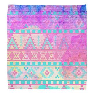 Watercolor Tribal Aztec Pink and Aqua Pattern Bandana