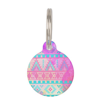Watercolor Tribal Aztec Pink and Aqua Pattern Pet Tag