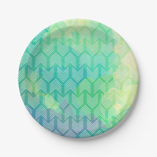 Watercolor Tribal Chic Abstract Arrows Paper Plate