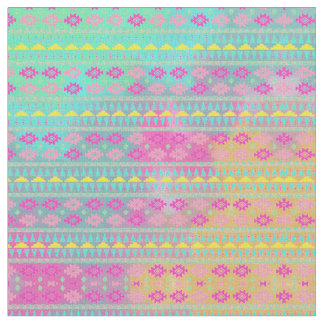 Watercolor Tribal Chic Geometric Stripe Fabric