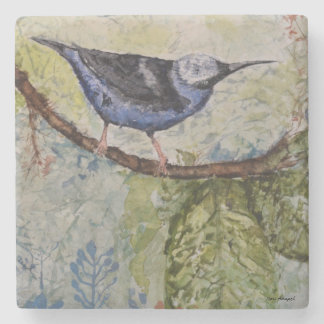 Watercolor Tropical Bird Design Stone Coaster