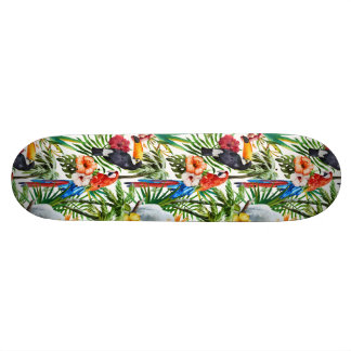 Watercolor tropical birds and foliage pattern 20.6 cm skateboard deck