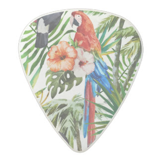 Watercolor tropical birds and foliage pattern acetal guitar pick