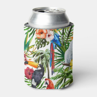 Watercolor tropical birds and foliage pattern can cooler