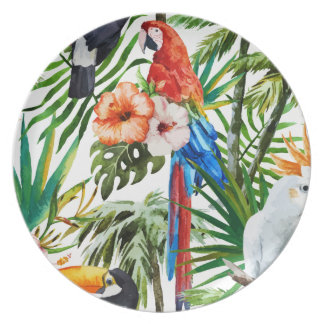 Watercolor tropical birds and foliage pattern dinner plates