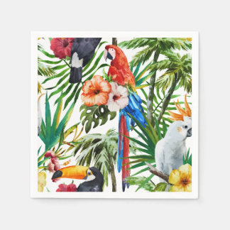 Watercolor tropical birds and foliage pattern disposable napkins