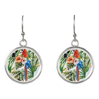 Watercolor tropical birds and foliage pattern earrings