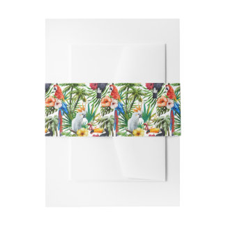 Watercolor tropical birds and foliage pattern invitation belly band
