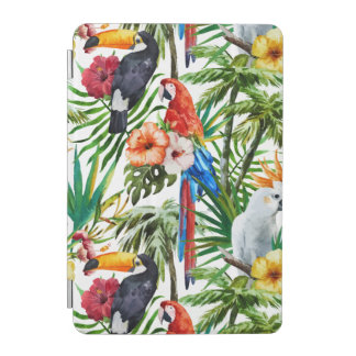 Watercolor tropical birds and foliage pattern iPad mini cover