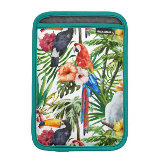 Watercolor tropical birds and foliage pattern iPad mini sleeve