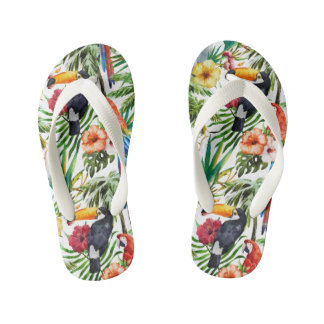 Watercolor tropical birds and foliage pattern kid's thongs