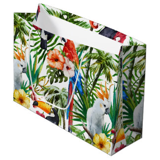 Watercolor tropical birds and foliage pattern large gift bag