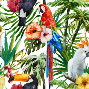 8efb55887a3ba Watercolor tropical birds and foliage pattern leggings