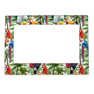 Watercolor tropical birds and foliage pattern magnetic picture frame