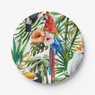 Watercolor tropical birds and foliage pattern paper plate