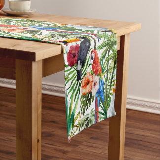 Watercolor tropical birds and foliage pattern short table runner