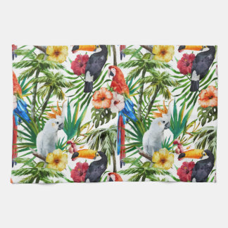 Watercolor tropical birds and foliage pattern tea towel