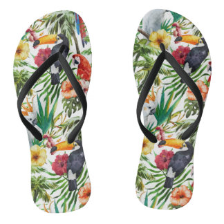 Watercolor tropical birds and foliage pattern thongs