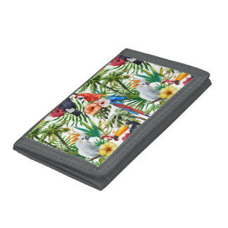 Watercolor tropical birds and foliage pattern tri-fold wallet