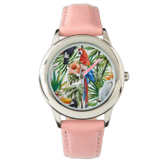 Watercolor tropical birds and foliage pattern watches