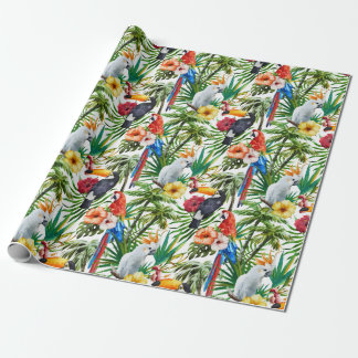 Watercolor tropical birds and foliage pattern wrapping paper