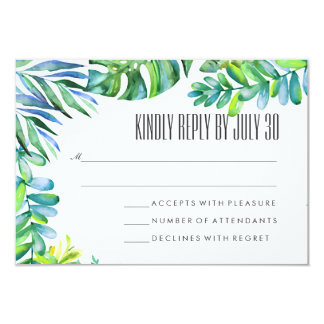 Watercolor Tropical Botanical Leaves Wedding RSVP Card