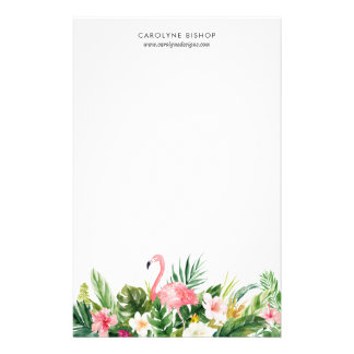 Watercolor Tropical Flamingo Floral Staionery Stationery