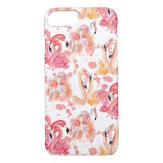 Watercolor Tropical Flamingo Love Phone Case