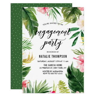 Watercolor Tropical Floral Frame Engagement Party Card