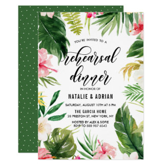 Watercolor Tropical Floral Frame Rehearsal Dinner Card