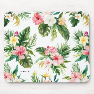 Watercolor Tropical Floral Pattern Personalized Mouse Pad