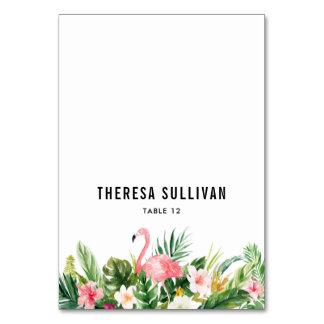 Watercolor Tropical Flowers & Flamingo Place Card